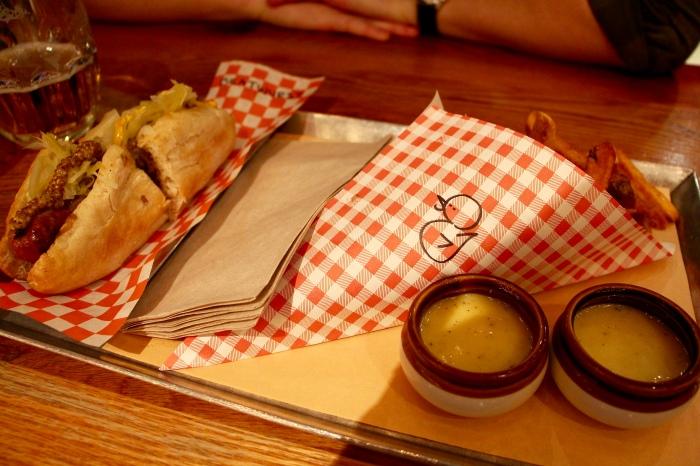bratwurst, duck fat fries & maple rosemary dipping sauce